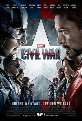CAPTAIN AMERICA CIVIL WAR MOVIE POSTER 2 Sided ORIGINAL FINAL 27x40 CHRIS EVANS
