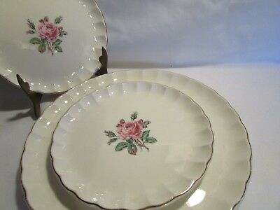 4 Pc Ws George Rose Bud Design  Blossom  24K Gold 2 Lunch And 2 Side Plates