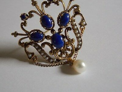 14ky Gold, Lapis and Pearl Brooch Pin