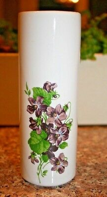 """Vintage Mccoy Pottery 5.75"""" White Vase With Violets Decal #676"""