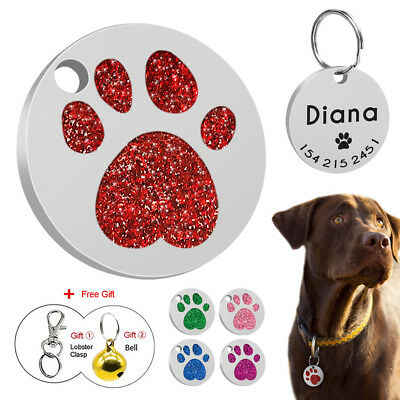 Glitter Personalized Dog Tags Custom Name ID Collar Tags Free Engraved with Bell