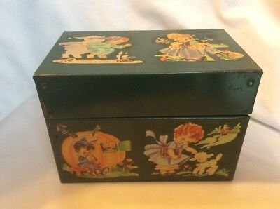 Vintage Metal Recipe Box With Nursery Rhyme Characters G8