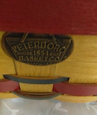 Peterboro Natural w/ blue, red & green Square basket 8.5 x 8.5 x 3.5