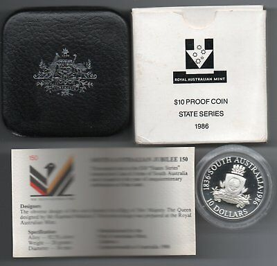 1986 South Australia State $10 .925 Silver Proof With Case Capsule Coa