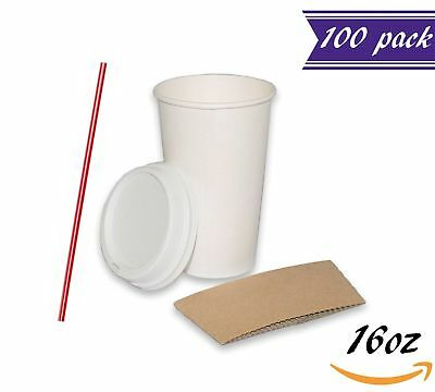 (Set of 100) 16 oz Paper Coffee Cups with Dome Lids and Sleeves, Stirres FREE