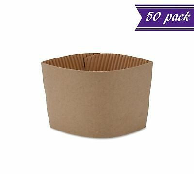 (Pack of 50) Hot Cup Sleeves, Kraft, Fits Most Hot Cups 10 oz. - 20 oz.,