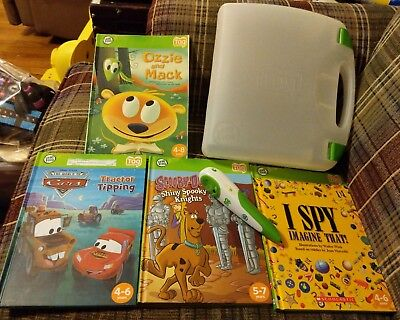 Lot of 4 Leap Frog Tag Reader books, green/white reader pen , case.