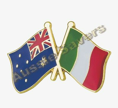 Australian / Italy  Flag Hat Pin / Badge - Enamel Friendship Badge