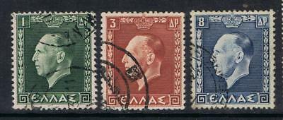 Greece 1937 King George II selection to 8dr SG 503, 505, 509 Used