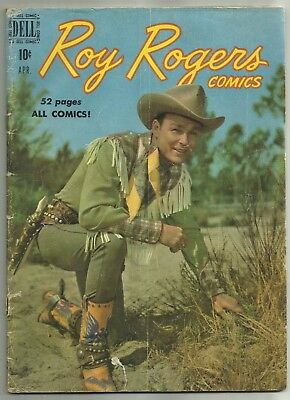 """ROY ROGERS COMICS #28 (""""Apache Blood,"""" Photo Cover, Western) Dell, 1950"""