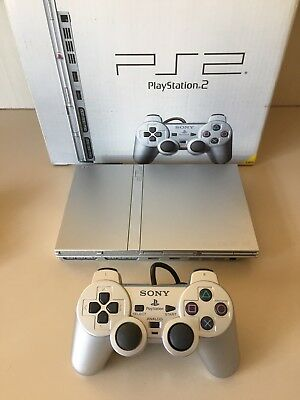 PS2 Boxed Silver Slim Console, Controller & Cords PAL AUS. PlayStation 2.