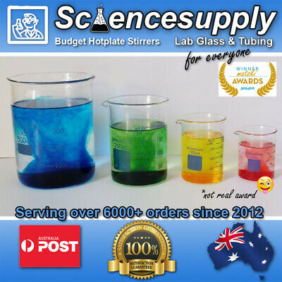 Beaker borosilicate 50 100 250 500 1000 2000 Fast Shipping from OZ