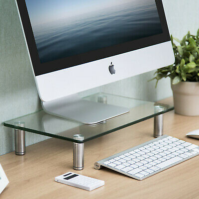FITUEYES Glass 2-tier Computer Monitor Riser with Adjustable Leg,fit 2 Screens