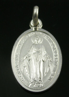 Brand New Solid Sterling Silver Oval Miraculous Medal Pendant 12.5x17mm
