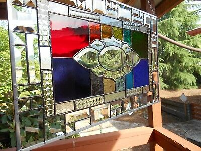 Rainbow Colored Stained Glass Panel Window