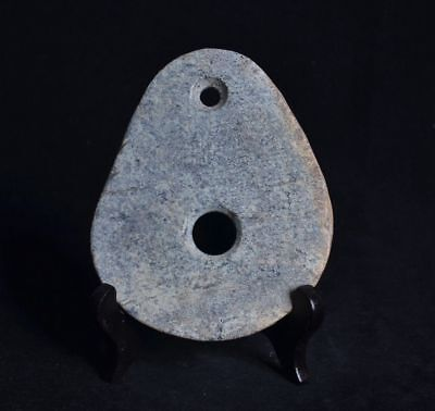 Chinese QiJia Culture Style Sacrificial Ceremony Two Holes Stone Axe-JR12732