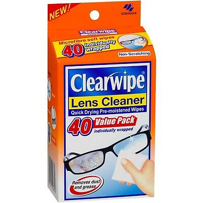 * Clearwipe 40 Pack Lens Glass Cleaner Pre-Moistened Soft Wipes Quick Drying