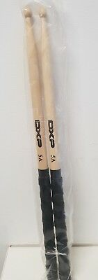 New DXP Grip Sticks 5A Drumsticks with Black Grip Handle & Wood Tip