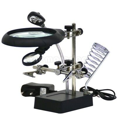 5 LED 10x HELPING HAND CLIP LED MAGNIFYING SOLDERING IRON STAND MAGNIFIER CLAMP
