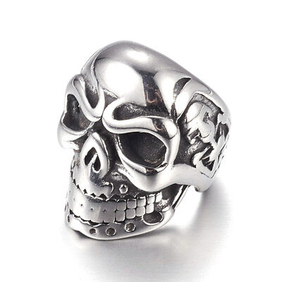 10pc 304 Stainless Steel Skull Beads Large Hole Antique Silver Loose Charms 15mm