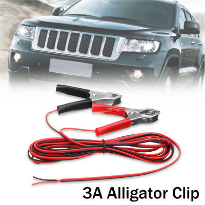 3M 3A Alligator Clip Wiring Red+Black For Battery Chargers Car Solar Panel
