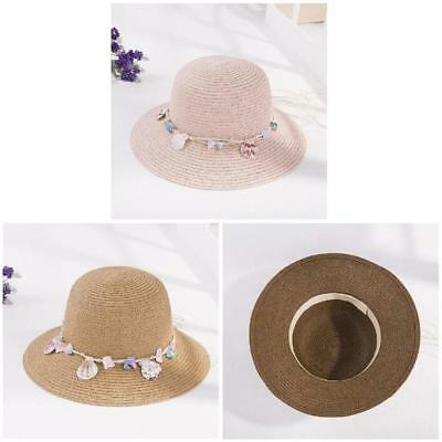 ce9cd6bf0fb Women Straw Sun Hat Wide Brim Shell Decor Bucket Hats Casual Sunshade Beach  Hat