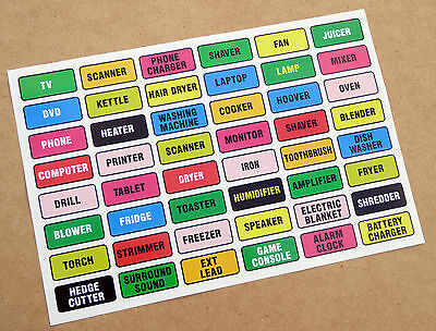 Home Domestic Garage PLUG LABELS stickers decals Identify your electrical items