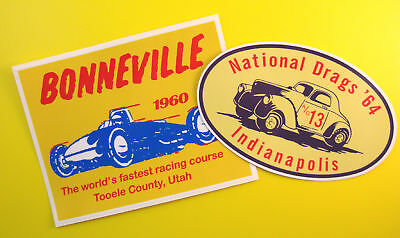 Vintage style DRAG RACING Retro Stickers Decals 60's Bonneville Indy