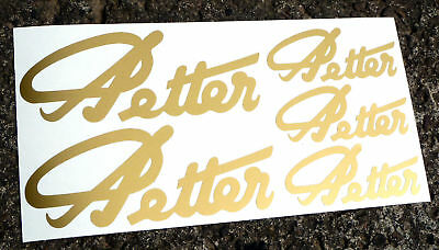 PETTER Script Engine logo style gold sticker decal set