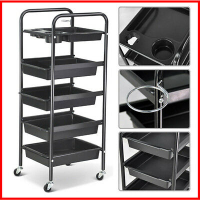 5 Tier Drawer Hairdressing Salon Spa Trolley Storage Equipment Beauty Barber