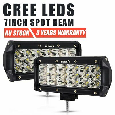 Pair 7inch CREE LED Work Light Bar Spot Beam OffRoad Driving 4WD 4x4 Reverse