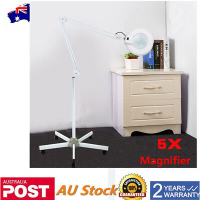 NEW! nwMagnifying Lamp Glass Lens Beauty 22W 5x Magnifier 5 Wheels Stand 220V
