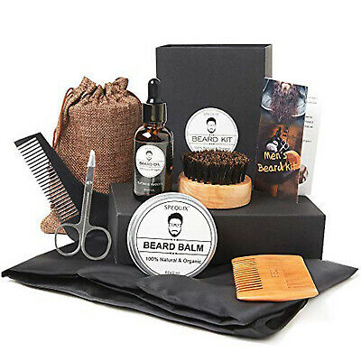 Beard Care Travel Kit Trimming Grooming Barber Oil Brush Comb Balm Scissor Gift