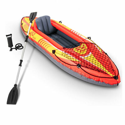 9ft Goplus 1-Person Inflatable Canoe Boat Kayak Set W/ Pump Paddle Water Sport