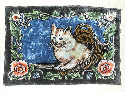 Beautiful Vintage Punched Tapestry White Kitty Cat Small Rug Hanging