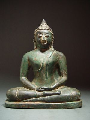 ANTIQUE BRONZE FIGURE OF A MEDITATING SIR LANKA BUDDHA, TEMPLE RELIC 19th C.