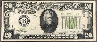 USA 20 Dollar Federal Reserve Note Series 1934 District B Banknote #8522
