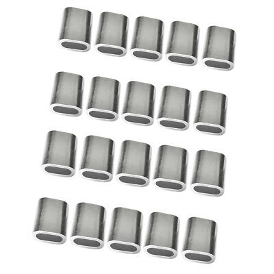 20 Pack 3mm + 4mm Wire Rope Cable Ferrules Crimping Loop Sleeves Silver
