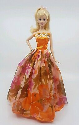 New barbie clothes outfit princess wedding gown dress orange floral bright