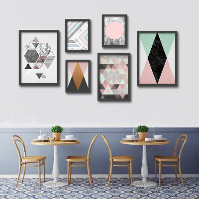 Watercolor Abstract Geometric Home Decor Wall Art Canvas Painting Poster Print
