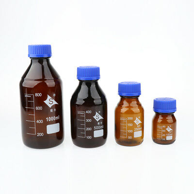 Reagent Bottle Borosilicate Glass 100 250 500 1000ml with Graduation Brown