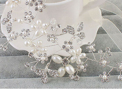 Silver Floral Vine Bridal Halo Crystal Beaded Headdress Wedding Headpiece 1piece