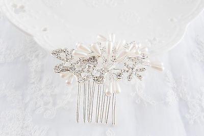 Silver Wedding Accessories Diamante Bridal Headpiece Pearls Hair Comb 1 Piece