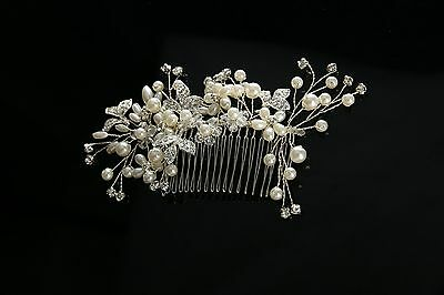 Silver Wedding Hair Comb Pearls Bridal Accessories Rhinestone Headpiece 1 Piece