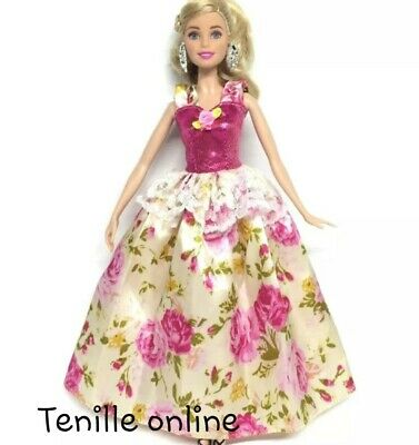 New barbie clothes outfit princess wedding gown dress pink fairytale floral