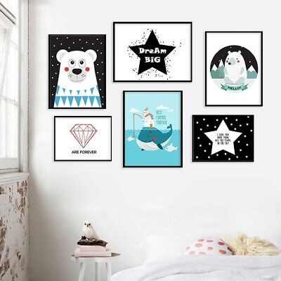 Cute Cartoon Bear Canvas Painting Kid Children's Room Decoration Hanging Picture