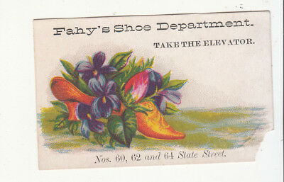 Fahy's Shoe Department Take Elevator Flowers  Vict Card c 1880s