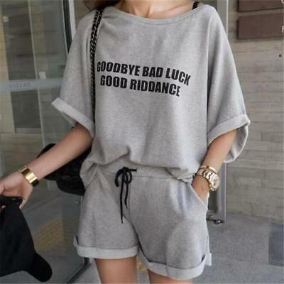 Lovely printing Letter Tie Leisure time Easy 2 piece set