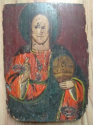 Antique Icon Jesus Christ Orthodox Ukraine 19th century Wood 335x245 mm