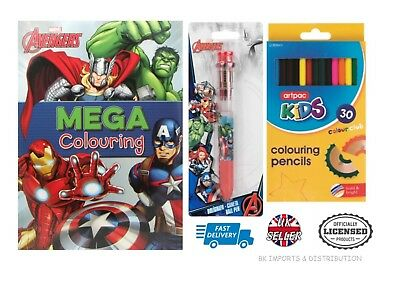 Officially Licensed Marvel Avengers 32pc Stationery Set Mega Colouring Book Pen
